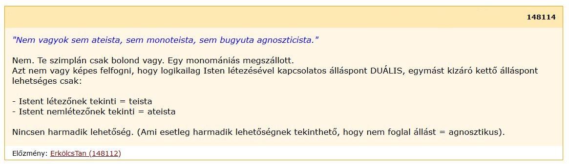 isten vagy, nem vagy paraziták istene)